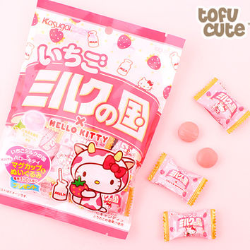 Buy Kasugai Country Milk Strawberry Hello Kitty Candy at Tofu Cute