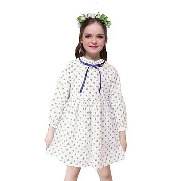 Girls Cute Dresses for Children Clothes Kids Dot Full Sleeve Dresses for Baby Spring  Autumn Hot Bow