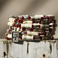 Asian Inspired Upcycled Book Jewelry: Bracelet - Chinese Language Book With Red Glass Beads