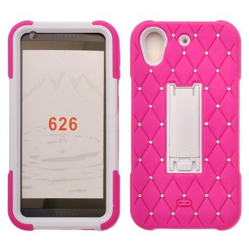 HTC Desire 626 Case, Heavy Duty Armor Diamond Rhinestone Hybrid Case with Kickstand for Desire 626 - Hot Pink/White