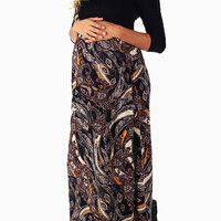Black-Leaf-Printed-Bottom-3/4-Sleeve-Maternity-Maxi-Dress