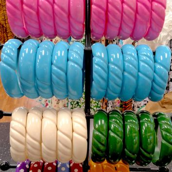 Fake-lite Carved Bangle Bracelets