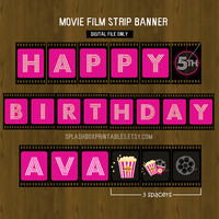 Hot Pink Movie Night Printable Birthday or Baby Shower Banner - Movie Night Banner for Girls