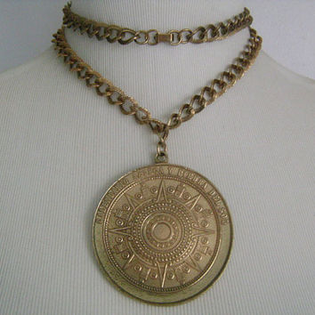"HUGE Medallion Calendario Azteca Y Piedra Del Sol Mayan Calendar Astrology Zodiac Signs Symbols Oxidized 3"" Pendant Necklace Highly Detailed"
