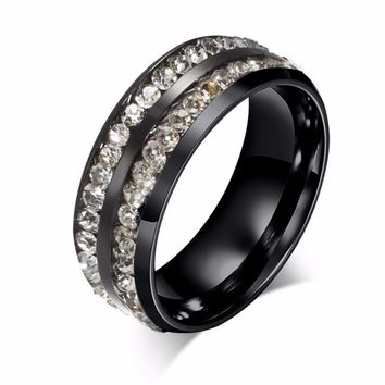 Retro unisex black ring double Cubic Zirconia rings anti-allergy Titanium steel fashion jewelry anel anillos bague Size 6-13
