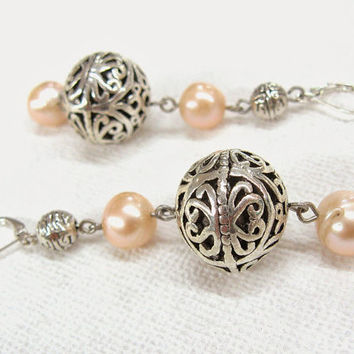 Peach Pearl Earrings Tibet silver Long Earrings with large freshwater pearls extra long dangle earrings peach pink pastel statement jewelry