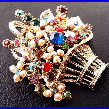 "Vintage Easter Basket Brooch Pin Colorful Rhinestones & Faux Pearls Silver Filigree Metal 2"" VG"