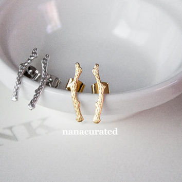 Tiny Tree Branch Stud Post, Tiny Stud Post, Tumblr, Girly Studs, Dainty Mini Stud Post, Earrings, Earring Stud, Holiday Gifts, Instagram
