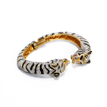 Kenneth Jay Lane Couture Rhinestone Jeweled Tiger Bracelet  (Small/Indie Brands)