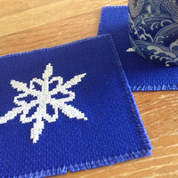 Cross stitch coaster Blue coaster Snowflake coaster Square coaster Drink coaster Beverage coaster Fabric coaster