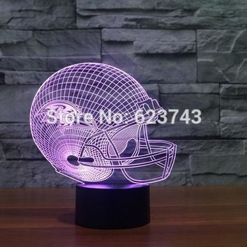 Baltimore Ravens American Football cap helmet NFL 3D LED Color Changing Decor night light by Touch induction control and battery