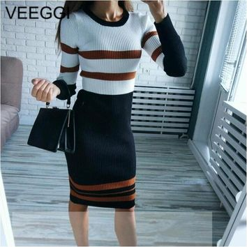 VEEGGI Autumn Winter New Arrival Women Striped Party Sheath Wrap Dresses Long Sleeve O-Neck Sexy Knitted Midi Dress 1807023
