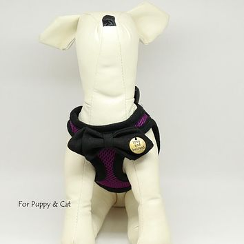 Puppy harness with bow tie, Black bow tie, Mesh harness, Lightweight, Breathable, Comfortable,Washable harness,Custom harness