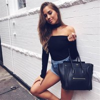 LOHILL Women Off Shoulder Bodysuits 2017 Autumn Long Sleeve Club Skinny Body Suits Overalls Jumpsuits One Piece Clubwear