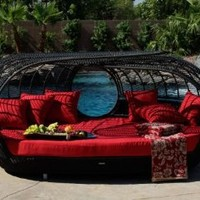 Patio Furniture | Handcrafted Outdoor Wicker Daybed | For Better Homes and Gardens | Rose Garden Seating | Loveseat Red