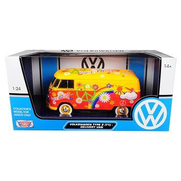 Volkswagen Type 2 (T1) Delivery Van Flower Power 1/24 Diecast Car Model by Motormax
