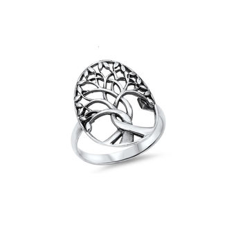 925 Sterling Silver Tree of Life Ring 22MM