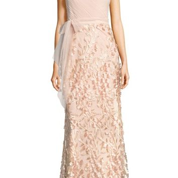 Adrianna Papell Petal Embellished Tulle Gown   Nordstrom