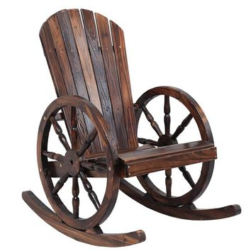 Wagon Wheel Wood Adirondack-Style Garden Chair Garden Furniture Rocking Chair Rocker Patio Garden Wooden Bench Outdoor Furniture