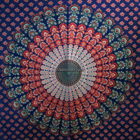 Twin Blue Hippie Hippy Wall Hanging , Indian Mandala Tapestry Throw Bedspread , Dorm Tapestry , Decorative Wall Hanging , Couch Sofa Cover