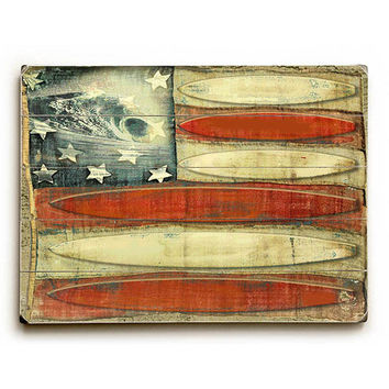 American Flag Surfboards by Artist Lynne Ruttkay Wood Sign