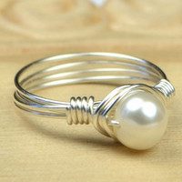 Freshwater Pearl Ring - Sterling Silver Filled Wire Wrap Ring with White Pearl- Any Size- Size 4, 5, 6, 7, 8, 9, 10, 11, 12, 13, 14