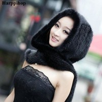 ONETOW 2017 Real Mink Fur Scarf Luxury Women Scarves Winter Handmade Knitted Natural Mink Fur Hat Scarf Female