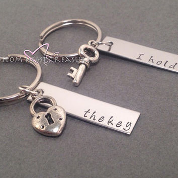 I hold the key, personalized keychains, stamped keychains, rectangle keychains, Couples keychains, Couples keychain, Wedding gift