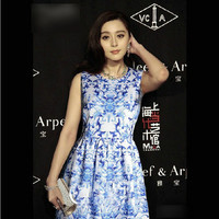 Blue Chinese Porcelain Print Sleeveless Skater Dress