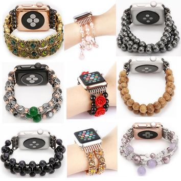 Luxury Agate Design Cord Strap Agate Band for Apple Watch Band With Connection Adapter for iwatch Woman Fashion Style Wrist