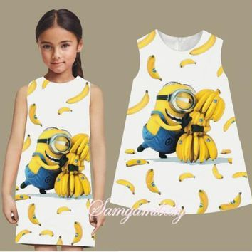 SAMGAMI BABY Heat 2-7 Y Summer Baby Girl Dress Minions Cotton O-neck Children Costume Printed Cute Sleeveless Cartoon Girls
