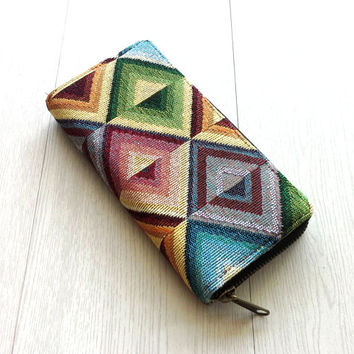 Handmade Vegan Wallet, Colorful Zipper Wallet, Long Wallet Clutch, Triangle Geometric Wallet, YKK Metallic Zippers, Gift ideas for women