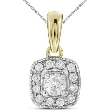 14kt Yellow Gold Womens Round Diamond Solitaire Square Halo Pendant 1-4 Cttw