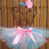 BABY GIRL Ribbon Tutu with Matching Flower Headband - Sizes Newborn to 5T