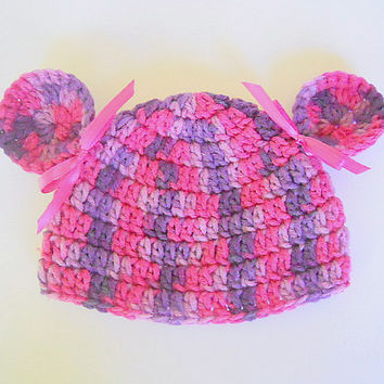 Newborn Pink And Purple Hat With Ears  Baby Girl Beanie 0 To 3 Months Infant Fall Cap Winter Cloche