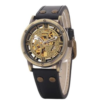 Men Wristwatches Bronze Antique Leather Self Widing Wrist Watch  Steampunk Skeleton Power Automatic Male Mechanical Watc