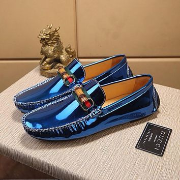 Men's Leather Loafers Shoes Mens Lacquer Surface Smooth Blue Shoes