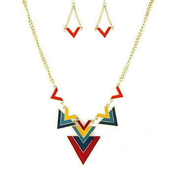 Colorful Geometric Triangle Necklace