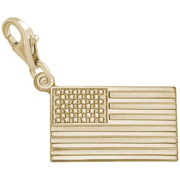 American Flag Charm in Yellow Gold Plated