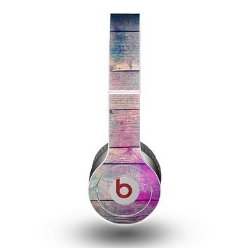 The Pink & Blue Grunge Wood Planks Skin for the Beats by Dre Original Solo-Solo HD Headphones