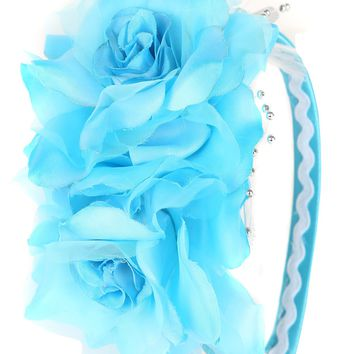 Aqua Blue Girls Organza & Satin Double Flower Headband