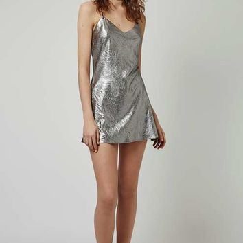 Metallic Strappy Slip Dress By Topshop Finds - New In