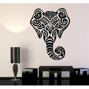 Vinyl Wall Decal African Indian Elephant Head Hinduism Animal Stickers Unique Gift (717ig)