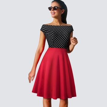 Vintage Retro Women Polka Dot Party Dress Elegant Swing A-line Ladies Dresses HA112