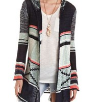Hooded Geo Duster Cardigan Sweater by Charlotte Russe - Navy Combo