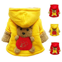 2015 Winter Children Warm Clothing Outwear Child Boy Girl Winter Wear Thickening Outerwear Hooded Coat Kids cotton-padded jacket
