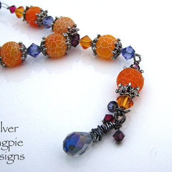 Orange Dragon Vein Agate Swarovski Crystal Wire Wrapped Necklace Handmade Art Jewelry by Silver Magpie Designs on Etsy.