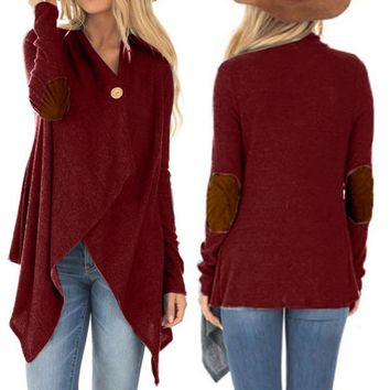 Hot Fall Women Cardigan Long Sleeve Button Pad Elbow Knitted Sweater Women 2018 Fashion Autumn Clothes Female Elegant  Casual H7