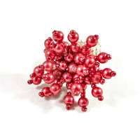 Fashion Costume Cocktail Ring Red Flower Stretch Band OOAK Finger Ring