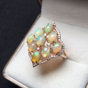 MDIGONEJ Opal Sterling Silver Diamond Shaped Ring